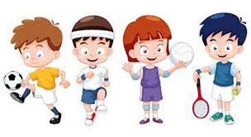 Cartoon children playing sports