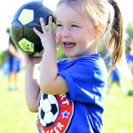 "Ava Metivier throws a soccer ball during ""Smart Start"" Sept. 8, 2015 at Aviano Air Base, Italy. The Aviano Youth Program hosts two separate Smart Start sessions per week, which allows parents and children to get familiarized with soccer. Additionally, AYP offers children an opportunity to gain skills at an early age in sports such as basketball, baseball and flag football. (U.S. Air Force photo by Senior Airman Areca T. Bell/Released)"